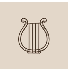 Lyre sketch icon vector