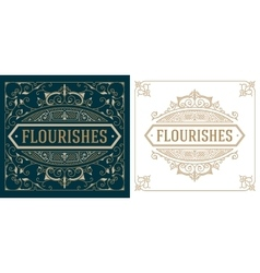 Vintage logo templates with flourishes elegant vector