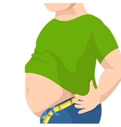 Abdomen fat overweight man with a big belly and vector