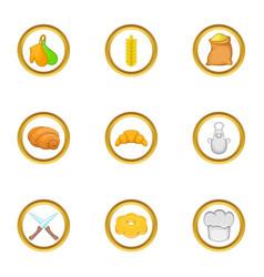 Bakery icon set cartoon style vector