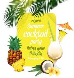 Beach tropical cocktail pina colada with garnish vector