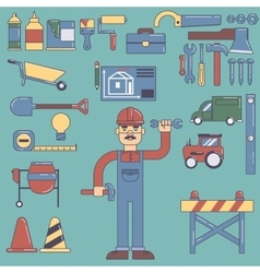Builders icons set color flat vector image vector image