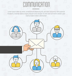 Communication process infographic of email vector