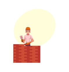 Construction worker builder in hardhat building vector