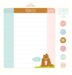 Cute page for notes with animals vector