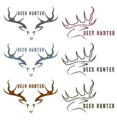 Deer hunter vintage grunge emblems set vector