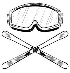 Doodle ski goggles skis vector