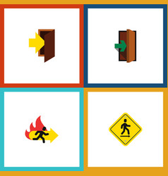flat icon emergency set of entry fire exit vector image vector image