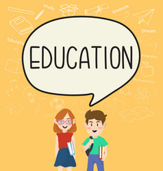 girls and boys pupils with education on vector image vector image