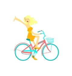 Happy Girl Riding Bicycle vector image