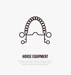 Horse pelham bit polo flat line icons vector