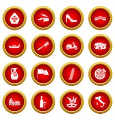 Italia icon red circle set vector