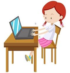 Little girl working on computer vector