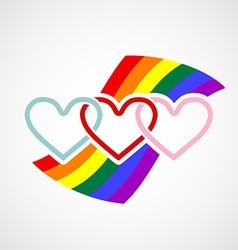 Logo hearts on rainbow background vector
