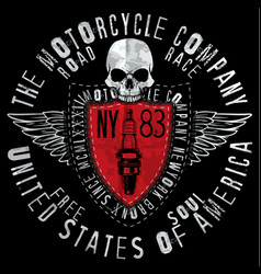 motorcycle skull tee graphic design vector image