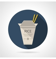 Rice box flat round icon vector image