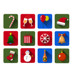 set of christmas icons flat with long vector image