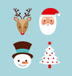 set of christmas santa deer tree and snowman vector image