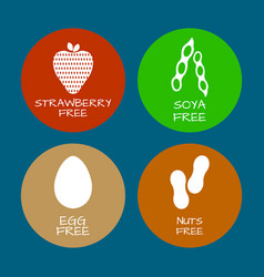 Set of food labels - allergens gmo free products vector