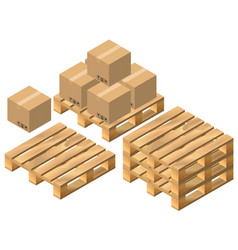 set pallet and cardboard boxes vector image vector image