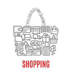 Shopping retail selling poster of shop bag vector