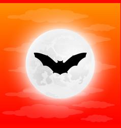 Silhouette bat in full moon vector