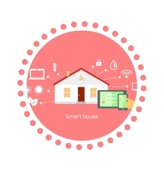 Smart House Concept Icon Flat Design vector image vector image