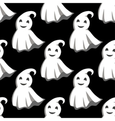 Smiling ghosts in white capes pattern vector