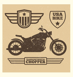 sport motorbike silhouette and vintage wing labels vector image