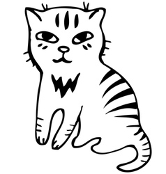 Tabby cat Black outline sketch vector image