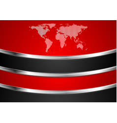 tech red and black background with dotted map vector image vector image