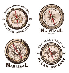 vintage colored nautical round emblems set vector image
