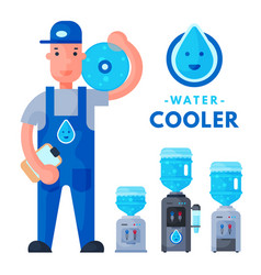 Water delivery service man character in uniform vector