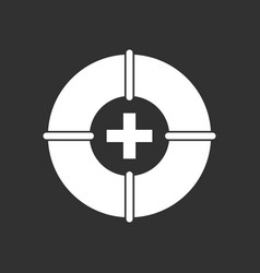 White icon on black background lifebuoy with a vector