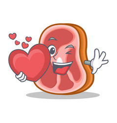with love meat character cartoon food vector image