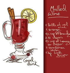 With mulled wine cocktail vector