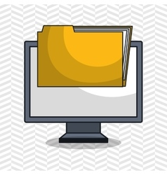 Laptop folder files icon vector