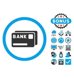 Bank cards flat icon with bonus vector