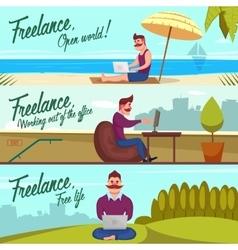 Hipster Freelancer Banners Set vector image