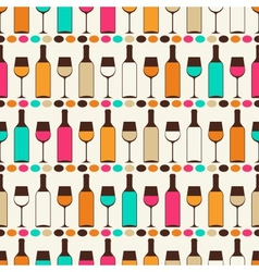 Seamless retro pattern with bottles of wine and vector
