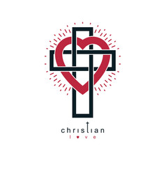 Christian love and true belief in god creative vector
