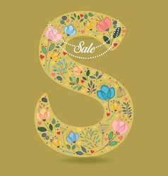 Yellow letter s with floral decor and necklace vector
