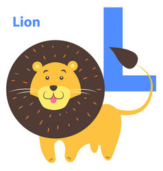 children s alphabet icon cartoon lion letter l vector image