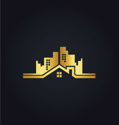 Home building cityscape gold logo vector