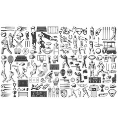 vintage sport games icons set vector image