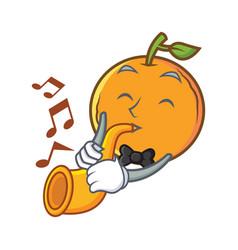 With trumpet orange fruit cartoon character vector