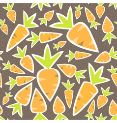 Seamless pattern orange carrots on a brown vector