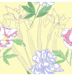Seamless pattern with iris and peonies vector