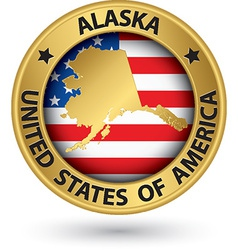 Alaska state gold label with state map vector