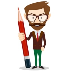 Teacher with a red pencil vector